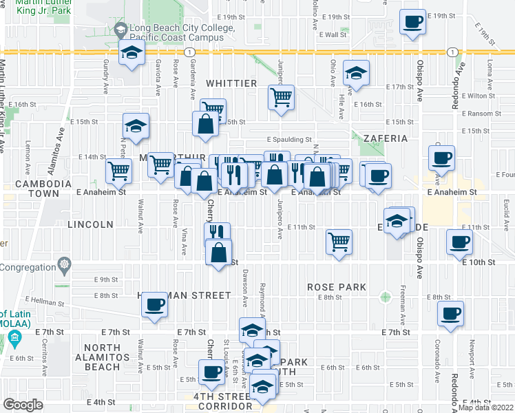 map of restaurants, bars, coffee shops, grocery stores, and more near 1135 Raymond Avenue in Long Beach