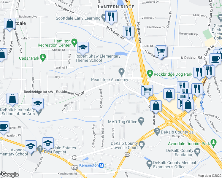 map of restaurants, bars, coffee shops, grocery stores, and more near 444 Kensington Parc Drive in Avondale Estates