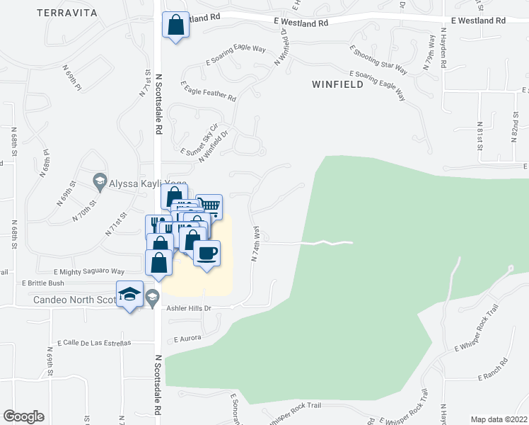 map of restaurants, bars, coffee shops, grocery stores, and more near 7545 East Camino Salida Del Sol in Scottsdale
