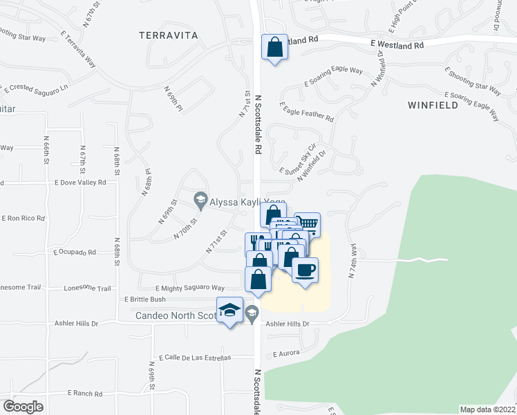 map of restaurants, bars, coffee shops, grocery stores, and more near 32857 North Scottsdale Road in Scottsdale