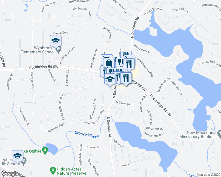 map of restaurants, bars, coffee shops, grocery stores, and more near 6974 Watkins Glen Road in Stone Mountain