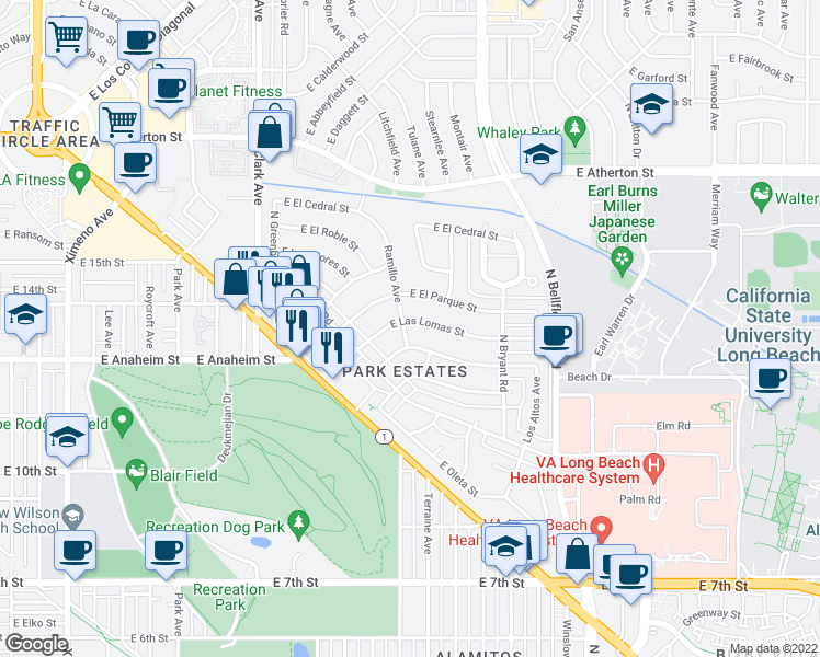 map of restaurants, bars, coffee shops, grocery stores, and more near 5400 East Las Lomas Street in Long Beach