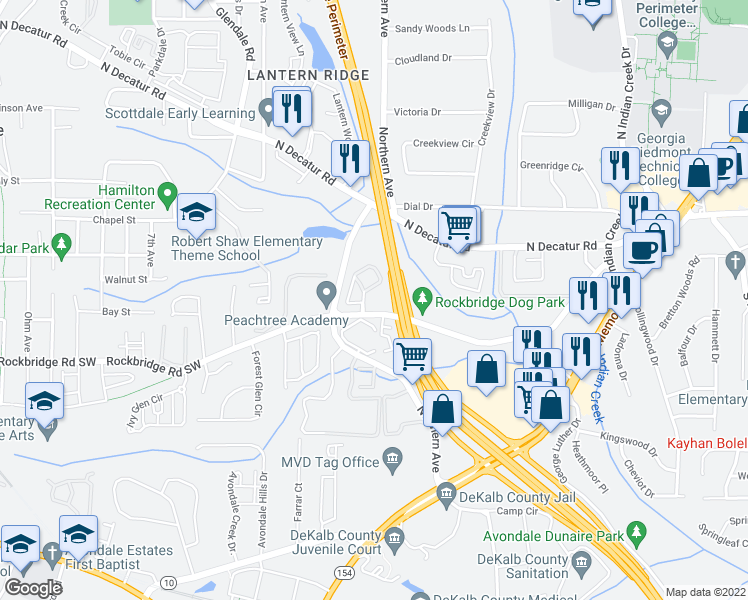 map of restaurants, bars, coffee shops, grocery stores, and more near 869-1099 Willow Ridge Way in Avondale Estates
