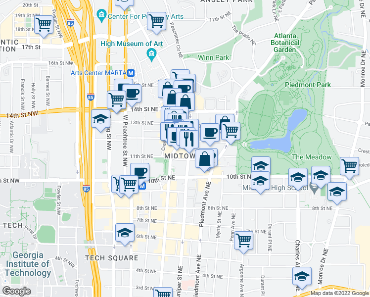 map of restaurants, bars, coffee shops, grocery stores, and more near 1075 Peachtree Street Northeast in Atlanta