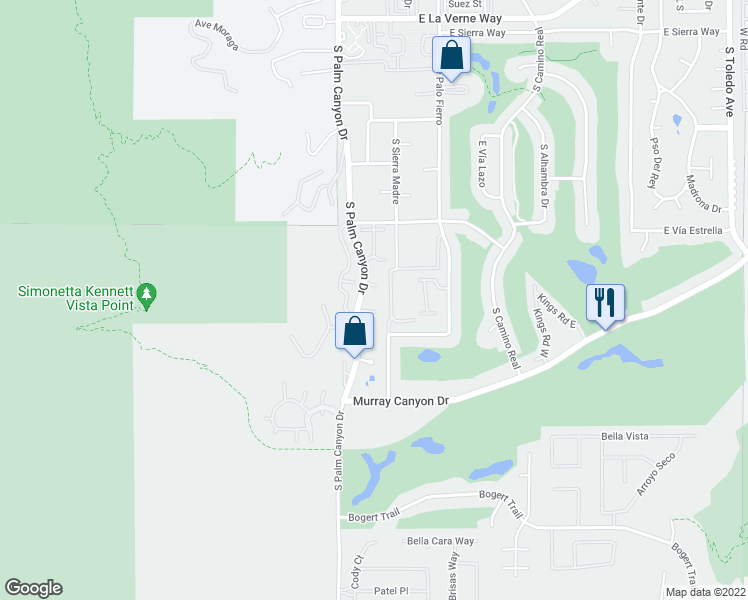 map of restaurants, bars, coffee shops, grocery stores, and more near 2600 South Palm Canyon Drive in Palm Springs