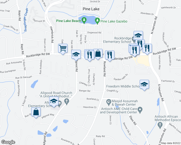map of restaurants, bars, coffee shops, grocery stores, and more near 442 Chartley Trail in Stone Mountain
