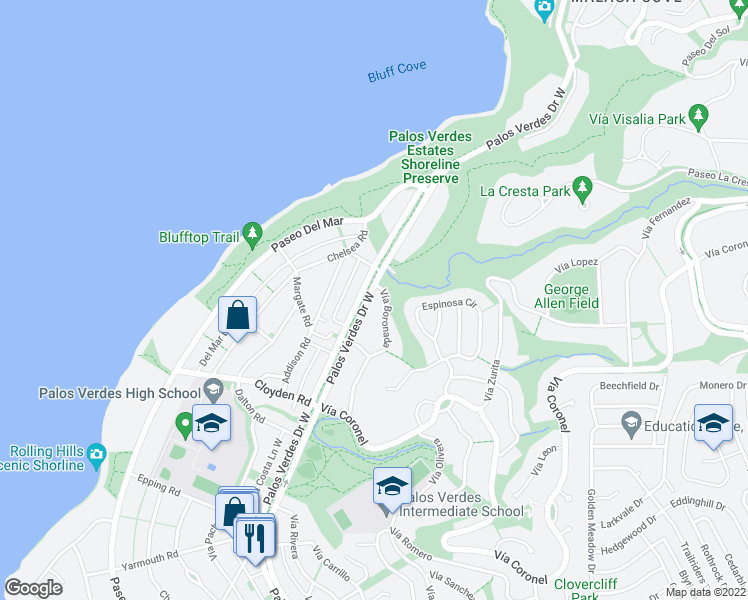map of restaurants, bars, coffee shops, grocery stores, and more near 1520 Palos Verdes Drive West in Palos Verdes Estates