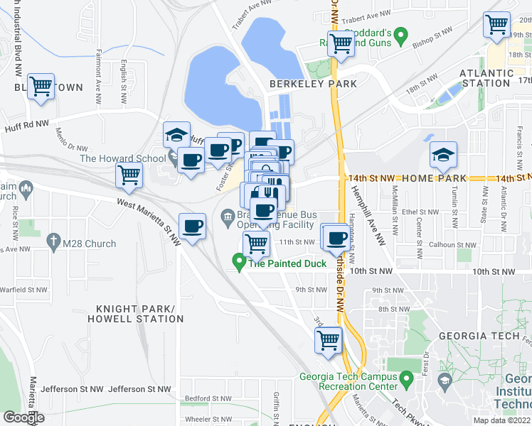 map of restaurants, bars, coffee shops, grocery stores, and more near 1100 Howell Mill Road Northwest in Atlanta