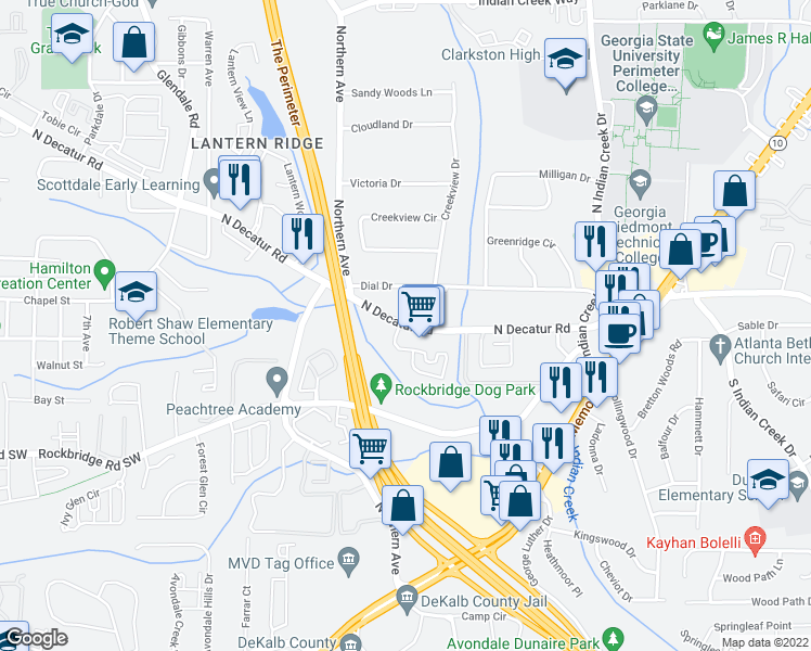 map of restaurants, bars, coffee shops, grocery stores, and more near 3688-3700 North Decatur Road in Decatur