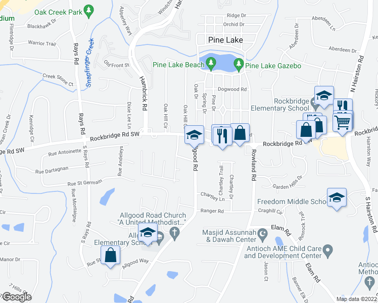 map of restaurants, bars, coffee shops, grocery stores, and more near 412-448 Allgood Road in Stone Mountain
