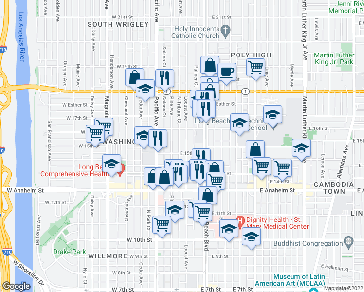 map of restaurants, bars, coffee shops, grocery stores, and more near 1521 Locust Avenue in Long Beach