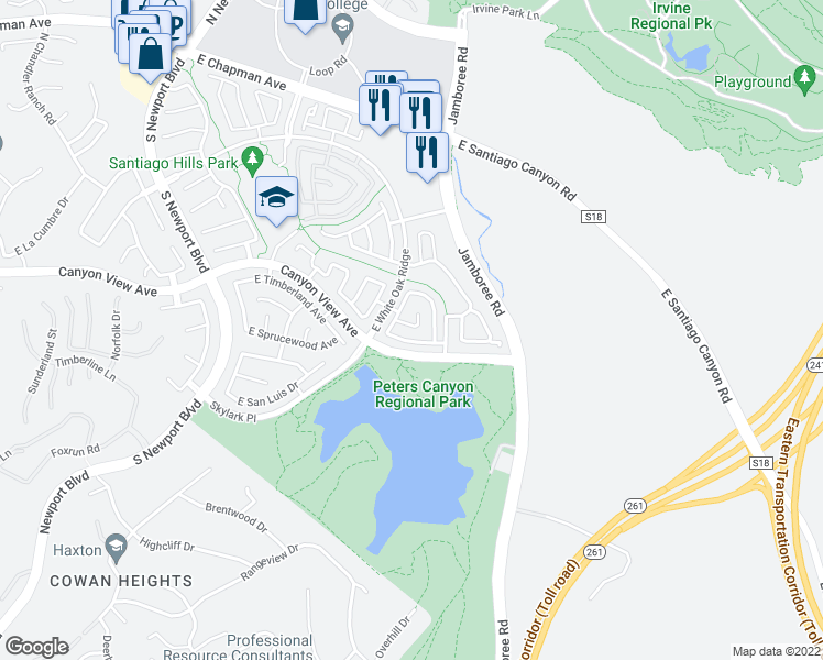 map of restaurants, bars, coffee shops, grocery stores, and more near 8446 East Deershire Court in Orange