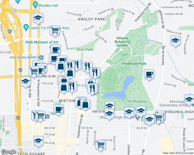map of restaurants, bars, coffee shops, grocery stores, and more near Piedmont Avenue Northeast & 14th Street Northeast in Atlanta