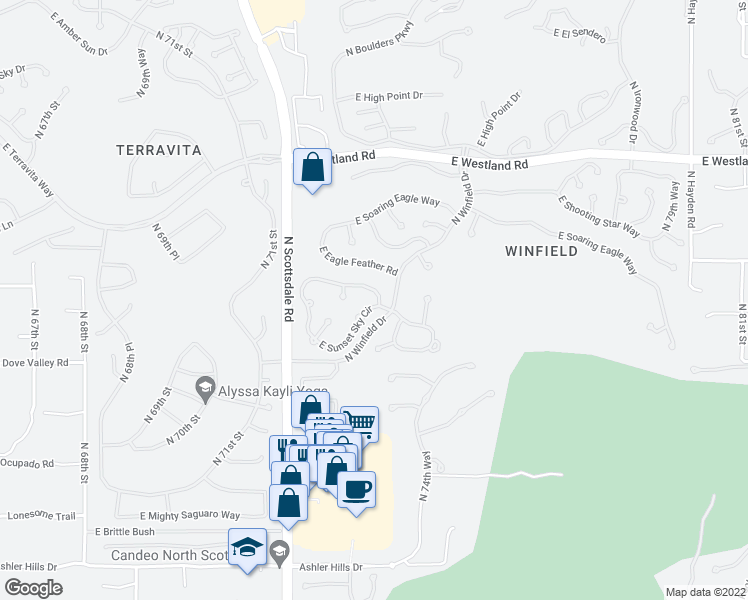 map of restaurants, bars, coffee shops, grocery stores, and more near 7391 East Crimson Sky Trail in Scottsdale