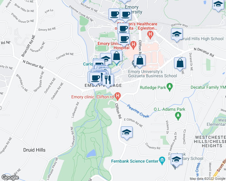 map of restaurants, bars, coffee shops, grocery stores, and more near 1443 Oxford Road Northeast in Atlanta