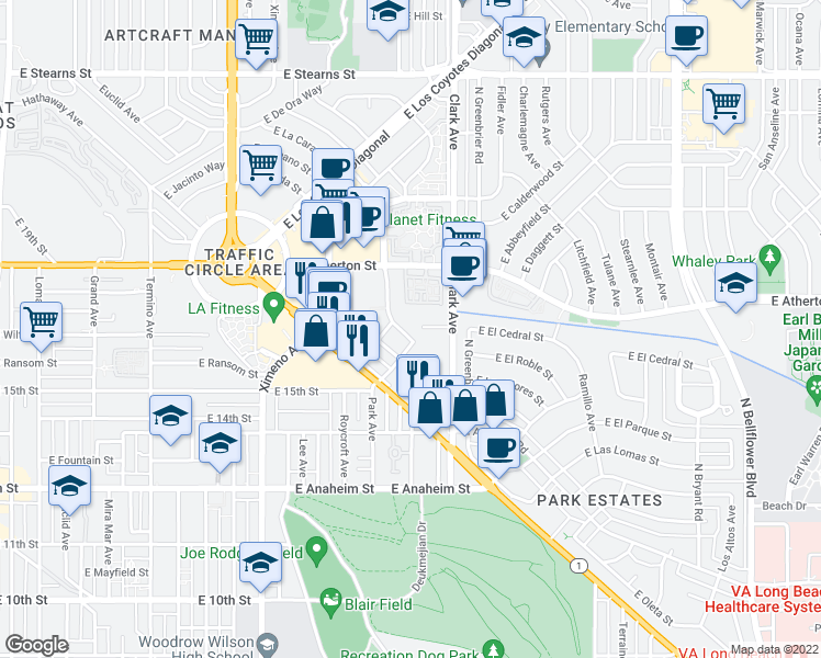 map of restaurants, bars, coffee shops, grocery stores, and more near 1620 Park Avenue in Long Beach