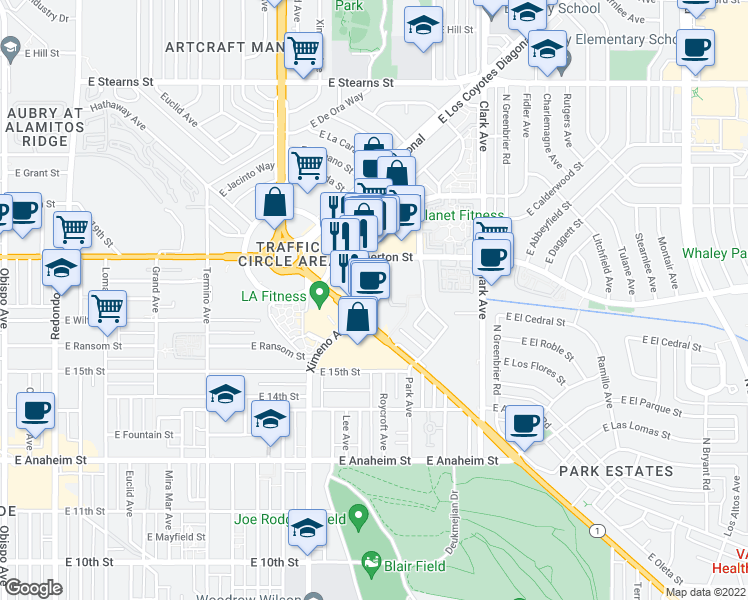 map of restaurants, bars, coffee shops, grocery stores, and more near 1718 Ximeno Avenue in Long Beach