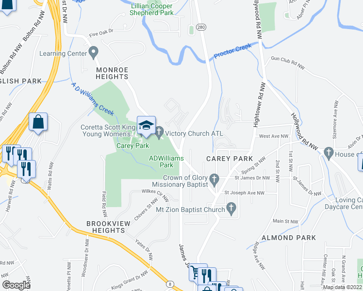 map of restaurants, bars, coffee shops, grocery stores, and more near 1245 Northwest Drive Northwest in Atlanta
