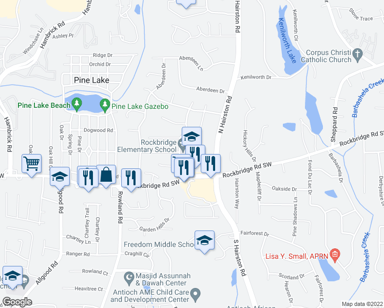 map of restaurants, bars, coffee shops, grocery stores, and more near 445 Halwick Way in Stone Mountain