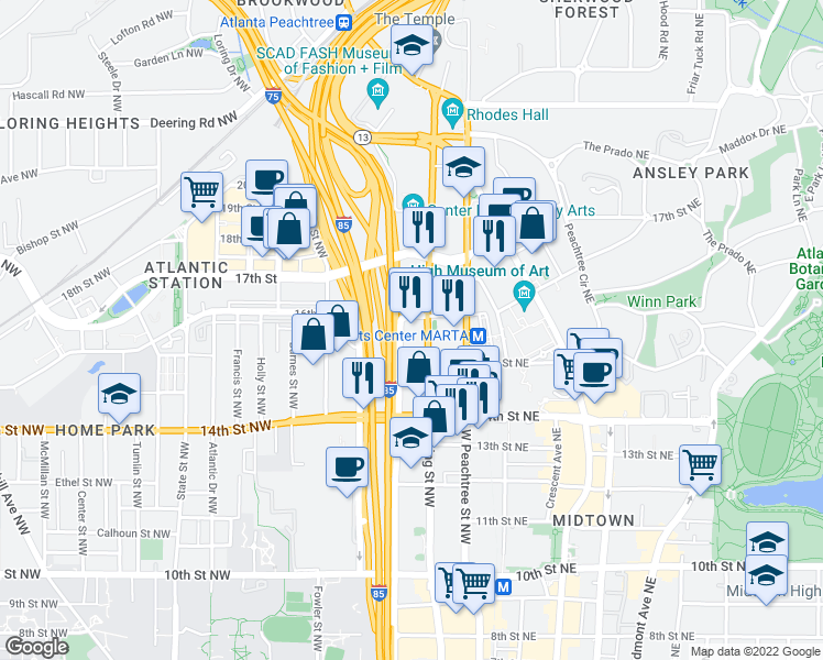 map of restaurants, bars, coffee shops, grocery stores, and more near 1270 Spring Street Northwest in Atlanta