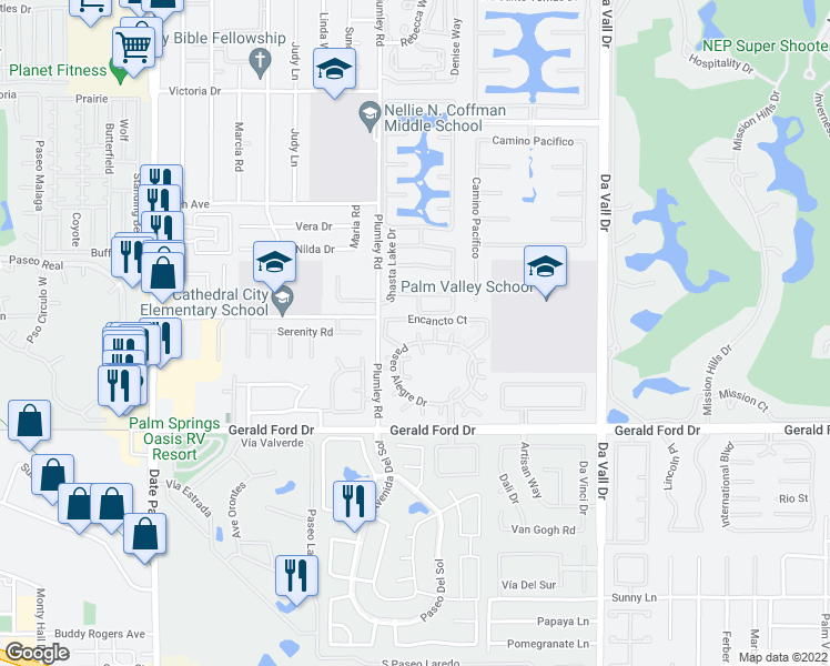map of restaurants, bars, coffee shops, grocery stores, and more near 35531 Graciosa Court in Rancho Mirage
