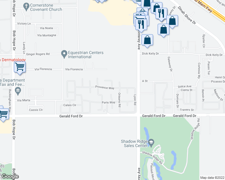 map of restaurants, bars, coffee shops, grocery stores, and more near 49 Provence Way in Rancho Mirage