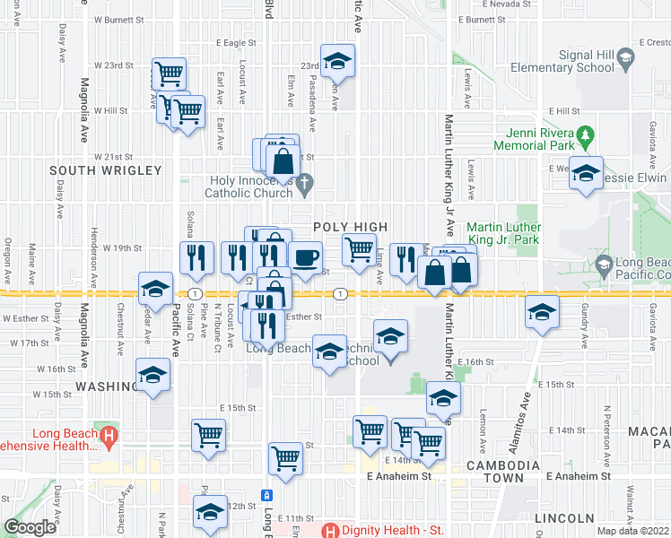 map of restaurants, bars, coffee shops, grocery stores, and more near 541 East Dayman Street in Long Beach