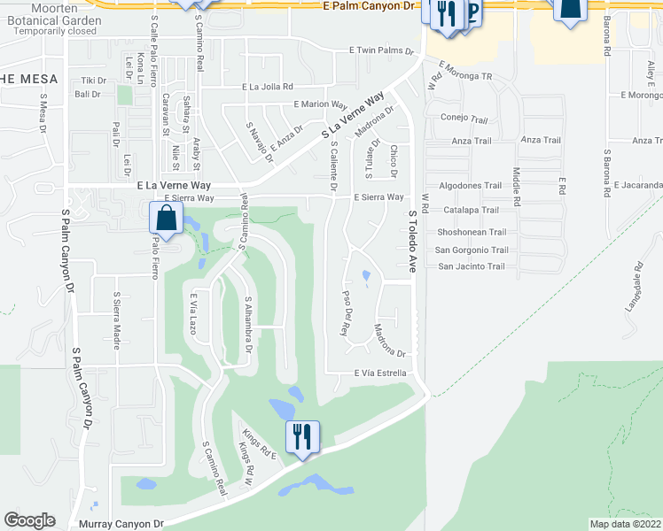 map of restaurants, bars, coffee shops, grocery stores, and more near 2270 South Caliente Drive in Palm Springs