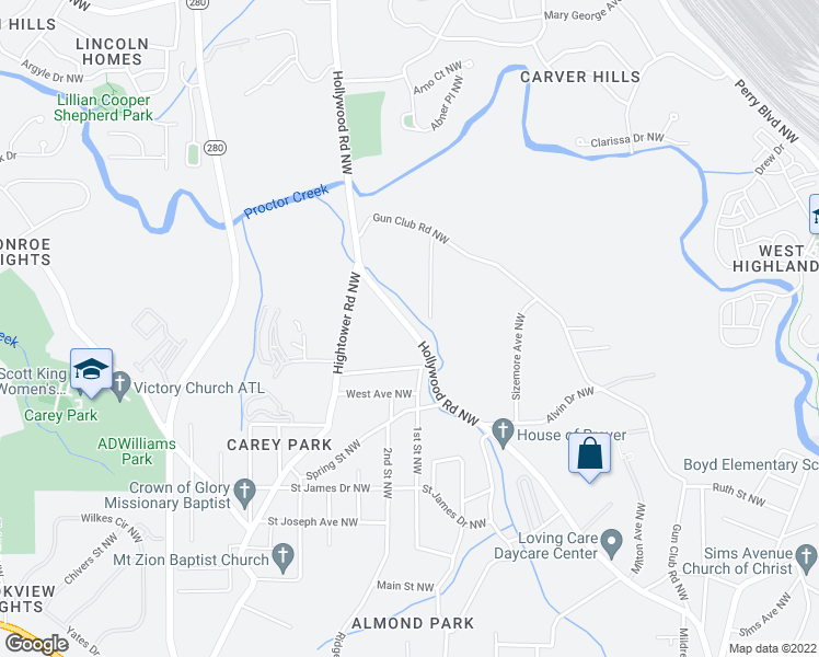 map of restaurants, bars, coffee shops, grocery stores, and more near Hollywood Road Northwest in Atlanta