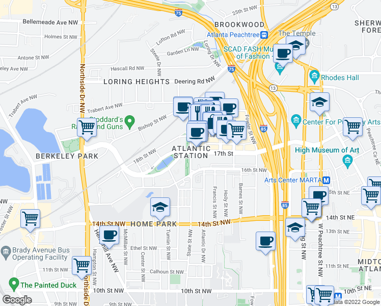 map of restaurants, bars, coffee shops, grocery stores, and more near 17th St NW & State St NW in Atlanta