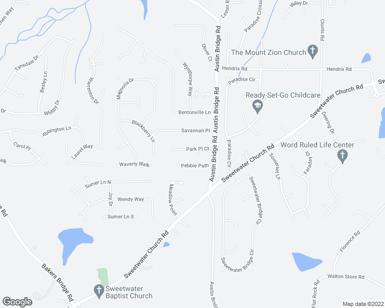 map of restaurants, bars, coffee shops, grocery stores, and more near 72 Park Place Court in Douglasville