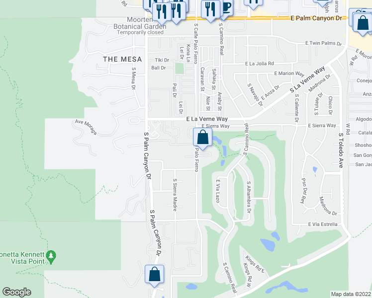 map of restaurants, bars, coffee shops, grocery stores, and more near 451 East Vía Carisma in Palm Springs