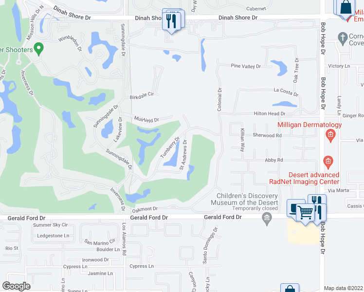 map of restaurants, bars, coffee shops, grocery stores, and more near 12161 Saint Andrews Drive in Rancho Mirage