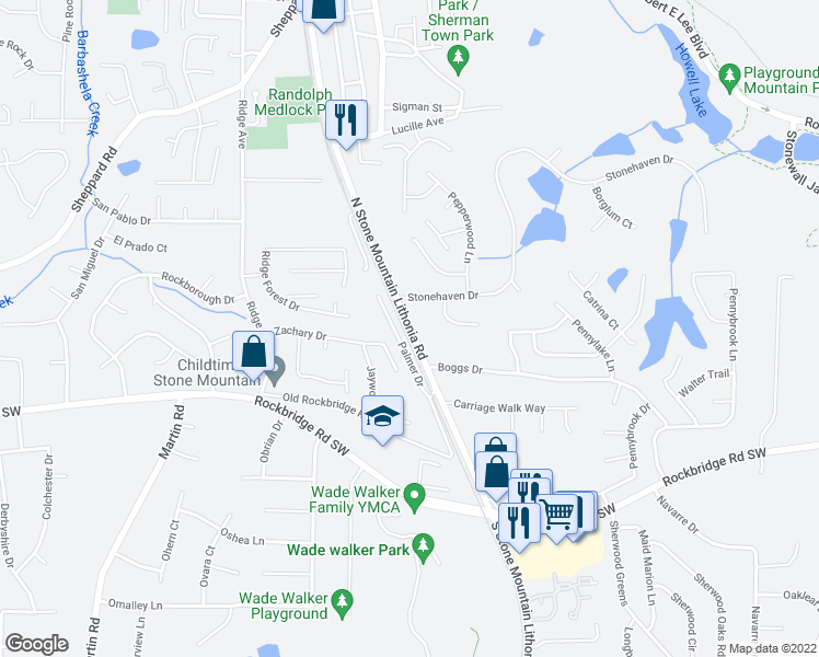 map of restaurants, bars, coffee shops, grocery stores, and more near 490 Stone Mountain Lithonia Rd in Stone Mountain