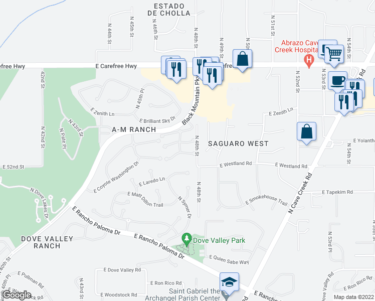 map of restaurants, bars, coffee shops, grocery stores, and more near 4750 East Preserve Way in Cave Creek