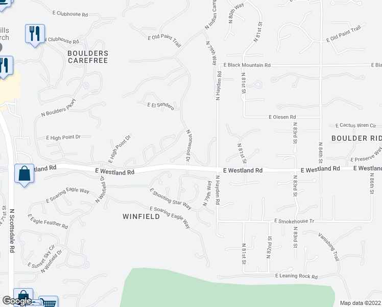 map of restaurants, bars, coffee shops, grocery stores, and more near 7901 East Thorntree Drive in Scottsdale