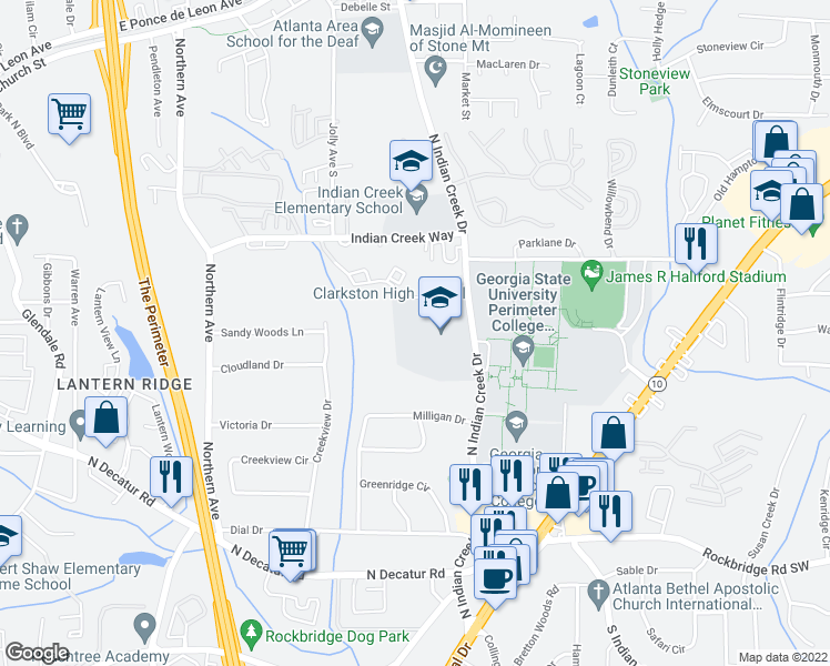 map of restaurants, bars, coffee shops, grocery stores, and more near 618 North Indian Creek Drive in Clarkston