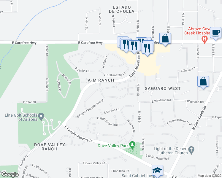 map of restaurants, bars, coffee shops, grocery stores, and more near 4613 East Thorn Tree Drive in Cave Creek