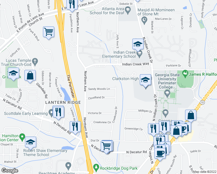 map of restaurants, bars, coffee shops, grocery stores, and more near 3576 Sandy Woods Lane in Stone Mountain