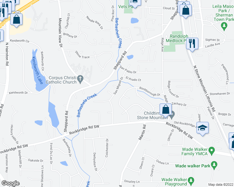 map of restaurants, bars, coffee shops, grocery stores, and more near 761 San Miguel Drive in Stone Mountain