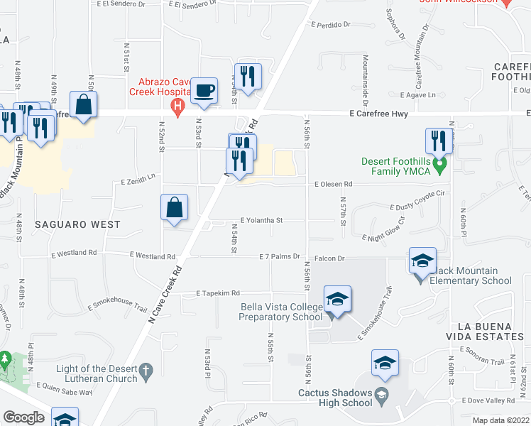 map of restaurants, bars, coffee shops, grocery stores, and more near 5438 East Yolantha Street in Cave Creek