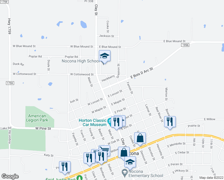 map of restaurants, bars, coffee shops, grocery stores, and more near Cooke Street in Nocona
