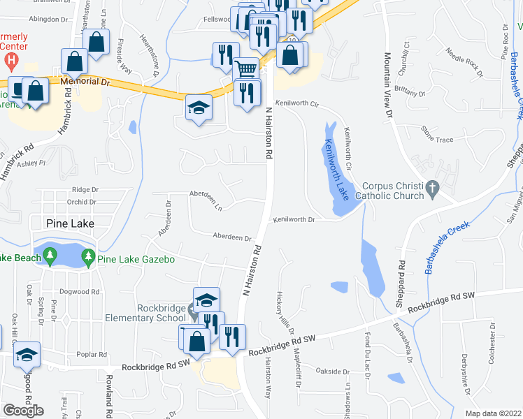 map of restaurants, bars, coffee shops, grocery stores, and more near 618 North Hairston Road in Stone Mountain