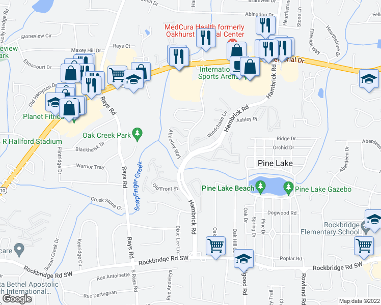 map of restaurants, bars, coffee shops, grocery stores, and more near 524-530 Windchase Lane in Stone Mountain