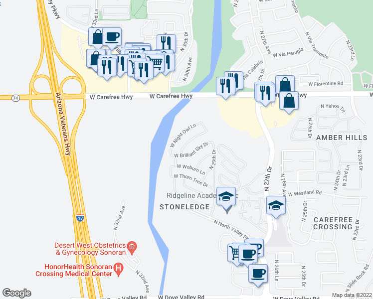 map of restaurants, bars, coffee shops, grocery stores, and more near 3019 West Tumbleweed Drive in Phoenix