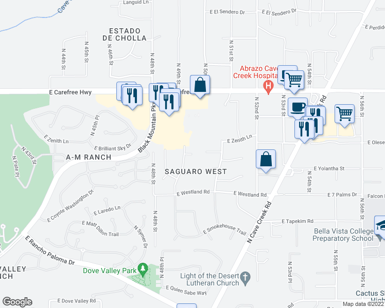 map of restaurants, bars, coffee shops, grocery stores, and more near East Sagebrush Circle in Cave Creek