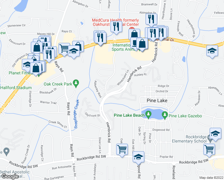 map of restaurants, bars, coffee shops, grocery stores, and more near 551 Windchase Lane in Stone Mountain