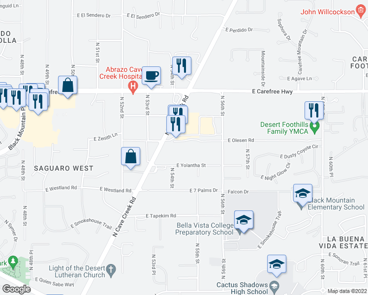 map of restaurants, bars, coffee shops, grocery stores, and more near 5415 East Olesen Road in Cave Creek