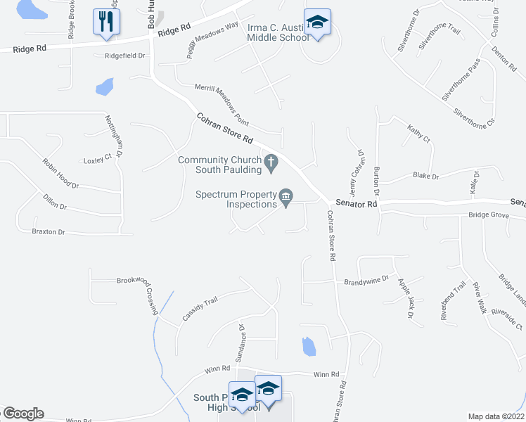 map of restaurants, bars, coffee shops, grocery stores, and more near 208 Hale Haven Drive in Douglasville
