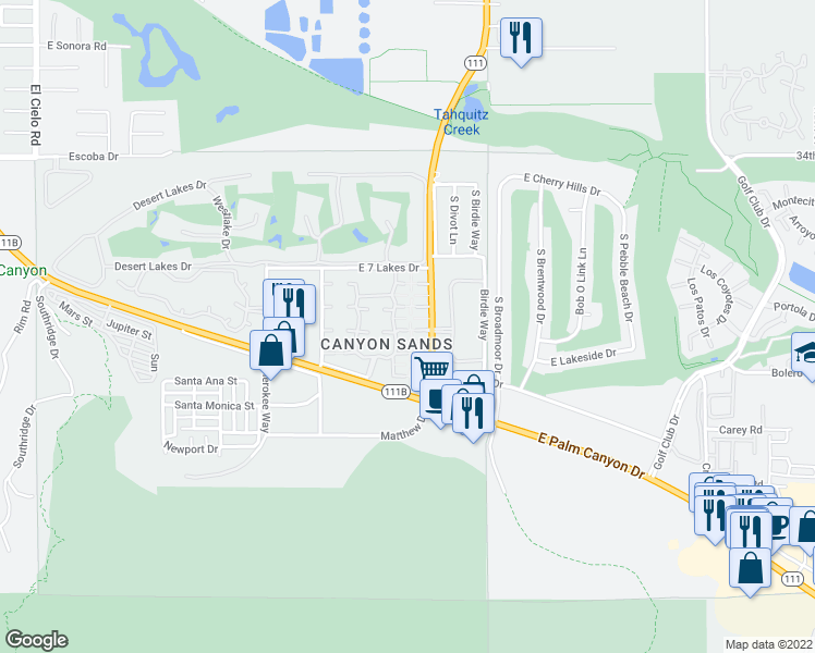 map of restaurants, bars, coffee shops, grocery stores, and more near 2366 East Miramonte Circle in Palm Springs